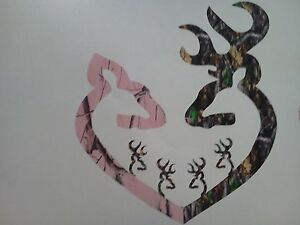 Browning Style Reg Buck And Pink Camo Doe Heart With 4 Baby Bucks Sticker Decal