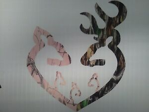 Browning Style Reg Buck And Pink Camo Doe Heart W 3 Baby Does Sticker Decal