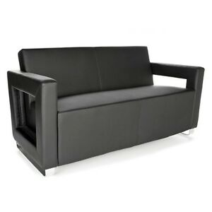 Distinct Series Anti microbial bacterial Soft Seating Office Lounge Black Sofa