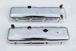 65 72 Chevrolet Chrome Valve Covers Bbc 396 427 454 Drippers Slant Free Decal