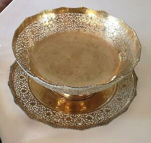 Antique Persian Brass Hand Carved Tray And Matching Bow