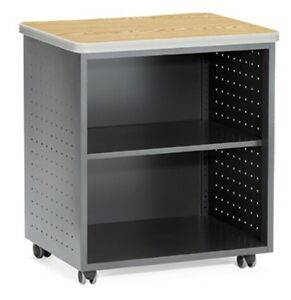 27 50 X 19 75 Mobile Utility Table W Shelf And Oak Finish Top File Cabinet