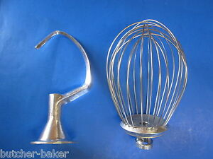2 Pc Set 12 Quart Bakery Mixer Dough Hook Wire Whip For Hobart A120 125