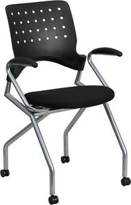 Mobile Nesting Office Chair With Arms And Black Fabric Seat