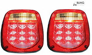 Set 2 Led Universal Stud mount Combination Tail Red Lights License On Left
