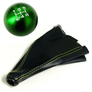 Green Round Billet Racing Shift Knob And Boot Combo For Honda Acura 5 Speed Mt