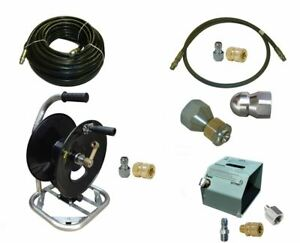 Sewer Jetter Cleaner Kit Hd Foot Valve 100 X 3 8 Hose Reel And Nozzles