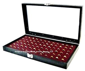 Glass Top Lid 72 Ring Burgundy Jewelry Display Box Storage Case Bonus Items