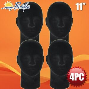 Male Styrofoam Foam Black Velvet Like Mannequin Head Display Wig Hat Glasses 4pc