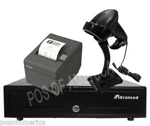 Point Of Sale pos entry Kit Drawer Thermal Printer Barcode Scanner Aldelo New