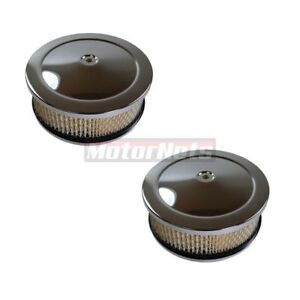 2x Chrome 6 3 8 x 2 1 2 Air Cleaner Sbc Chevy Ford Holley Edelborck 4bbl Scoop