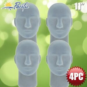 Male Styrofoam Foam Grey Velvet Like Mannequin Head Display Wig Hat Glasses 4pc