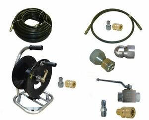 Sewer Jetter Cleaner Kit Ball Valve 100 X 3 8 Hose Reel And Nozzles