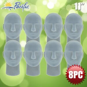 Halloween Male Styrofoam Foam Grey Velvet Like Mannequin Head Display Wig 8pc