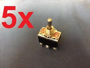 5 Pieces black Dpdt Momentary Switch On off on Toggle15a W 6 Screw Terminals