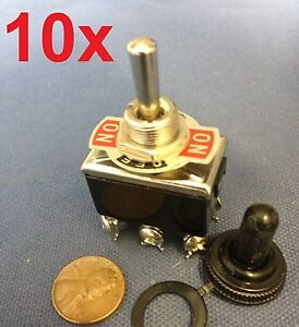 10 Pieces Black Waterproof Boot Cap Dpdt Momentary Toggle Switch 10x On off on