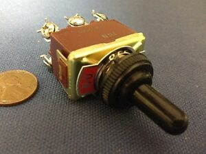 1 Piece Red Waterproof Boot Cap Dpdt Momentary Toggle Switch On off on Car Boat