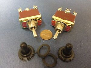 2 Pieces Red Waterproof Boot Cap Dpdt Momentary Toggle Switch 2x On off on 30a