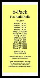 6 pack Ux 5cr Fax Refills For Sharp Ux p200 Ux cl220 Ux cc500 Ux cd600 Ux ld600
