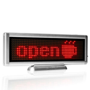 Red Color Led Sign Programmable Scrolling Moving Message Board Usb Rechargeable