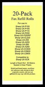 20 pack Ux 5cr Fax Refills For Sharp Ux p200 Ux cl220 Ux cc500 Ux cd600 Ux ld600
