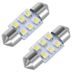 2x White 31mm Festoon 6 Smd Led Map Dome Interior Lights Bulbs De3175 3022 Dc12v