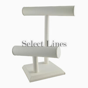 White Leather 2 Tier Bracelet T bar Jewerly Display Stand Holder