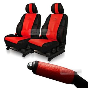 Sports Bucket 2seat Cushion Parking Brake Cover Leather Red For Universal Car