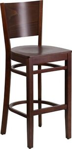 Solid Back Walnut Wood Restaurant Barstool Commercial Quality Bar Stool