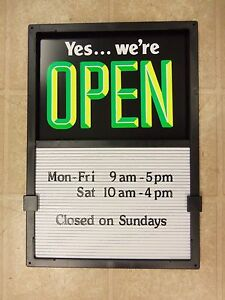 New Open Closed Sliding Sign Message Menu Hours Board Changeable Letter