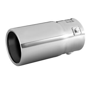 Car Exhaust Tail Muffler Tip Pipe Chrome Round Fit Pipe Diameter 1 1 2 2 1 2