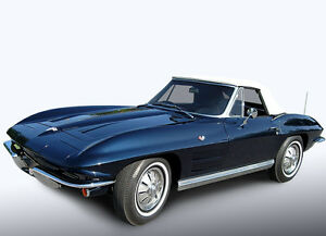Chevy Chevrolet Corvette 1963 1967 Convertible Soft Top White Pinpoint