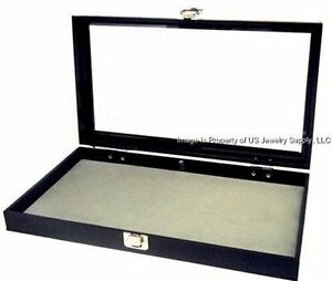 1 Glass Top Lid Grey Pad Display Box Case Militaria Medals Pins Jewelry Knife