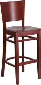 Solid Back Mahogany Wooden Restaurant Barstool Commercial Quality Bar Stool