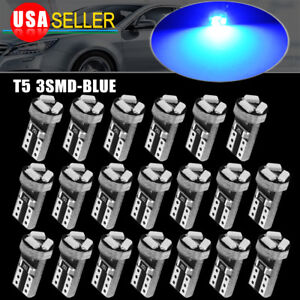 20 T5 Wedge 3 Smd 3014 Speedometer Gauge Cluster Led Light Bulb 37 73 74 Blue