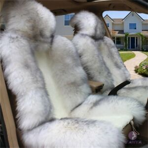2 Pcs Winter Sheep Skin Long Wool Car Seat Cover Cushions For Car With Gray Tip