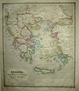 1853 Reichard Forbiger Map Ancient Greece Environs Crete Aegean Asia Minor