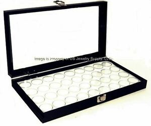 1 Glass Top Lid White 36 Jar Box Case Display Gems Body Jewelry Gold Nugget