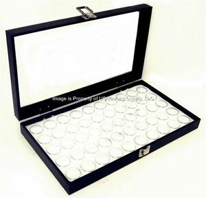 1 Glass Top Lid White 50 Jar Box Case Display Gems Body Jewelry Gold Nuggets