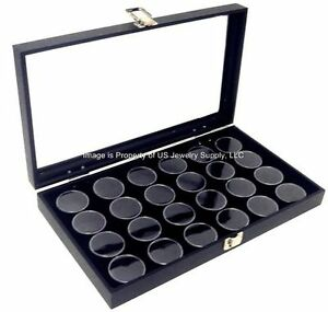 1 Glass Top Lid Black 24 Jar Box Case Display Gems Body Jewelry Gold Nugget