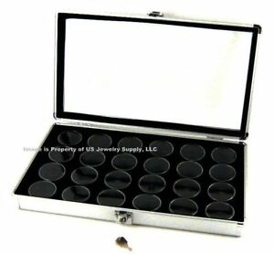 1 Aluminum Display Case Box 24 Jar Black Gems Body Jewelry Gold Nuggets