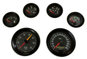 6 Gauge Set Vdo Genuine With Senders Speedo Tacho Oil Temp Fuel Volt Black