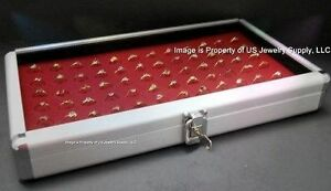 1 Wholesale Locking Aluminum Red 72 Ring Display Portable Storage Box Case