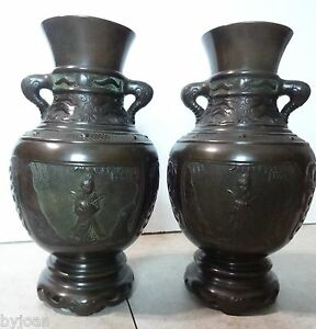 Supreme Pair Of Japanese Vessels Early 20th Century