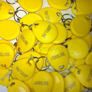 100pcs 18digit Em4100 125khz Rfid Id Induction Proximity Tag Token Keyfob Yellow