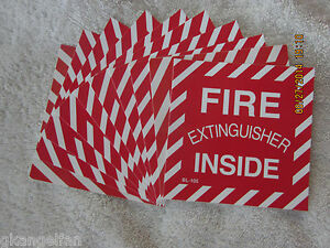 lot Of 10 fire Extinguisher Inside Self adhesive Vinyl Sign s 4 X 4 New