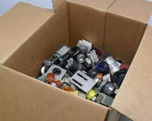 345 27 5 Lbs including Box Mixed Lot Of Pushbuttons Contacts Misc Parts
