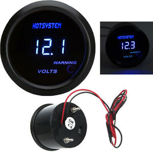 Black 2 52mm Blue Digital Led Electronic Volt Gauge Meter For Car Hotsystem