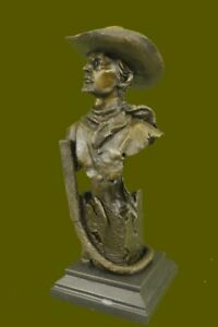 Signed Kamiko Cowboy Western Bronze Sculpture Statue Marble Base Figure Figurine