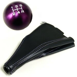 Purple Round Cnc Billet Racing Shift Knob And Boot Combo For Mazda 5 Speed Mt